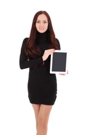 Smiling student teenage girl with tablet pc isolated on white Stock Photo