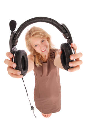 Beautiful customer service operator student girl with headset, isolated on white background. Stock Photo