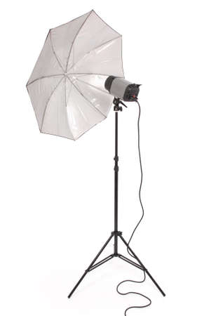 Studio lighting and equipment umbrella isolated on the white background with soft shadow