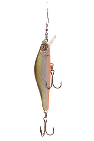 Fishing floating wobbler hanging top of the screen isolated on white. Close-up Stock Photo