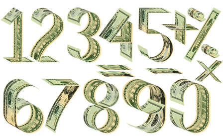Numbers, percent and mathematical signs from dollars. Made of twenty dollar banknotes. Isolated on white