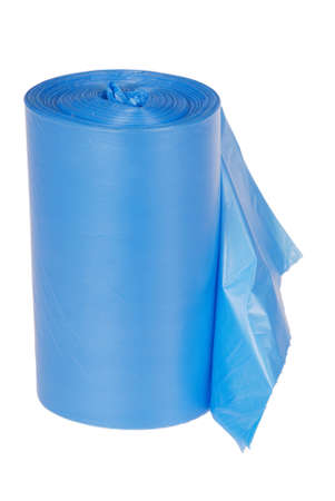 Roll of blue plastic garbage bags isolated on white background. Clipping path