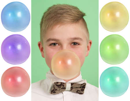 blanks: Boy blowing a bubblegum bubble isolated on green. Plus six blanks