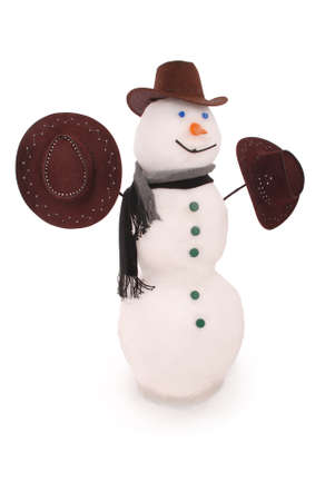 White snowman with scarf and three hat. On white background.