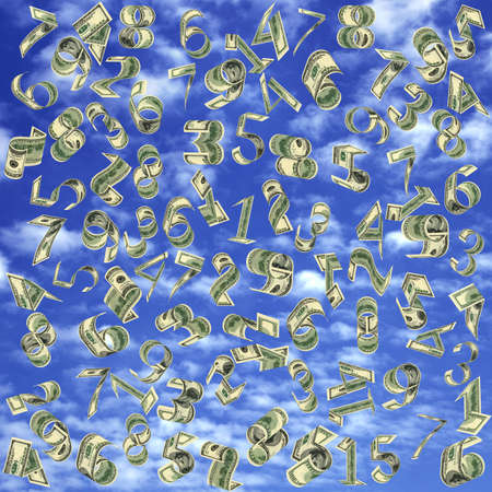 Dollars as figures fall from the sky. On sky background.