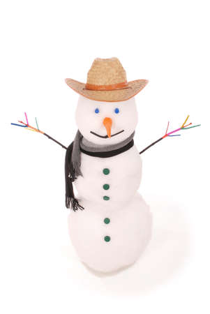 White snowman with scarf and cowboy hat. On white background.