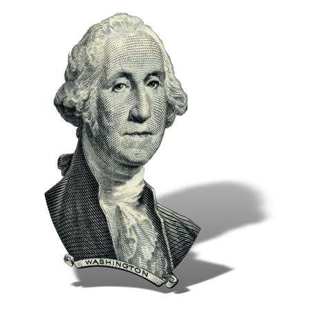 Portrait of first USA president George Washington as he looks on one dollar bill obverse. Photo at an angle of 15 degrees, with a shadow. Stock Photo