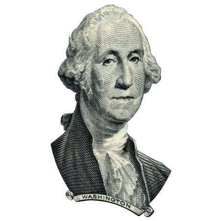 Portrait of first USA president George Washington as he looks on one dollar bill obverse. Photo at an angle of 15 degrees. Фото со стока