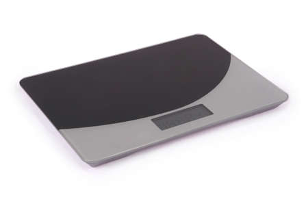 Digital kitchen scale, isolated on a white background 스톡 콘텐츠