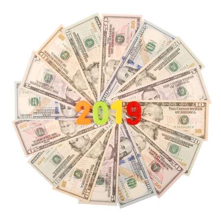 2019 New year isolated on white background. Money background raster pattern repeat mandala circle.
