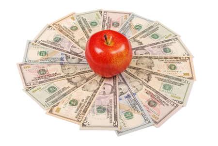 Red apple on mandala kaleidoscope from money. Abstract money background raster pattern repeat mandala circle.