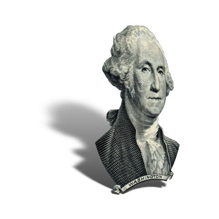 Portrait of first USA president George Washington as he looks on one dollar bill obverse. Photo at an angle of 45 degrees, with a shadow.
