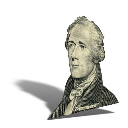 First Secretary of Treasury Alexander Hamilton. Qualitative portrait from 10 dollars banknote isolater white background. Photo at an angle of 15 degrees, with a shadow.