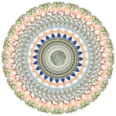 Mandala kaleidoscope of elements american dollar. Abstract money background raster pattern repeat mandala circle Stock Photo