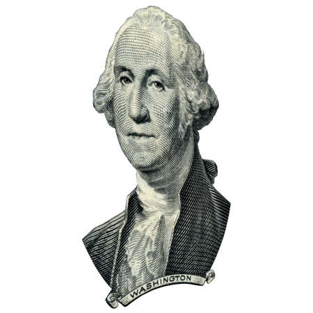 Portrait of first USA president George Washington as he looks on one dollar bill obverse. Photo at an angle of 15 degrees. Редакционное
