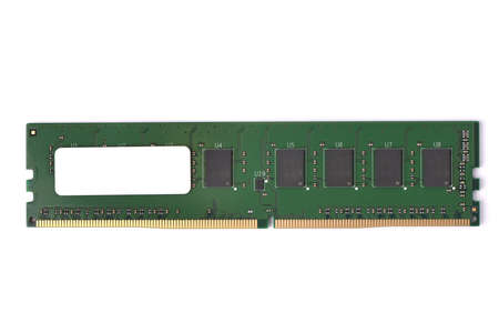 Photo of DDR4 DDR3 DDR2 DDR RAM memory module isolated on white background. High resolution photo.