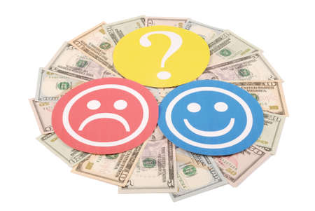 Question mark between smiley and sad smiley on mandala kaleidoscope from money. The concept of the level of earnings of men and women Stock Photo