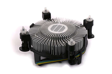 Fan and aluminum radiator for cooling of computer processor, cooling system, isolated on white background