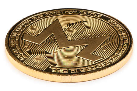 Golden monero isolated on white background. High resolution photo. With clipping path. Full depth of field.