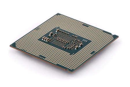 CPU : Central Processing Unit, Computer processor from the bottom side, socket contact isolated on white background