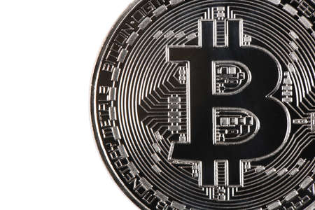 Silver bitcoin isolated on white background. High resolution photo.  Full depth of field.