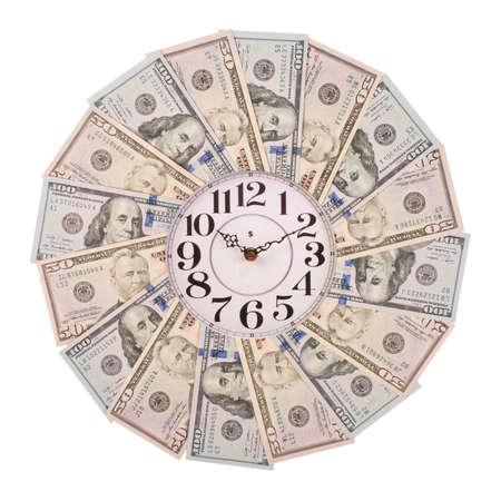 Concept of clock and dollar. Clock on mandala kaleidoscope from money. Abstract money background raster pattern repeat mandala circle. On white background. Stock Photo