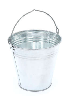 Empty metal bucket isolated on white background. High resolution photo. Full depth of field.