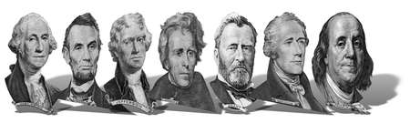 Portraits of America presidents and politicians from dollars isolated on white background. Photo at an angle of 45 degrees, with a shadow.