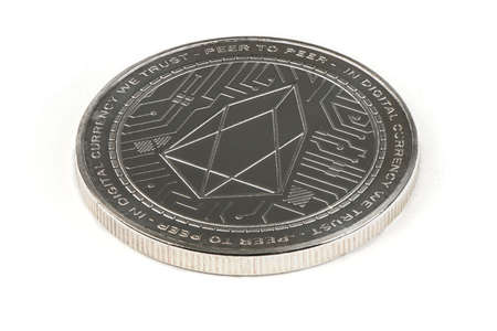 Face of the crypto currency, silver EOS isolated on white background. High resolution photo. Full depth of field. Reklamní fotografie