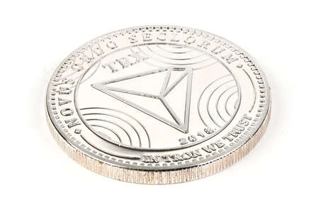 Back side of the crypto currency silver tron isolated on white background. High resolution photo. Full depth of field.