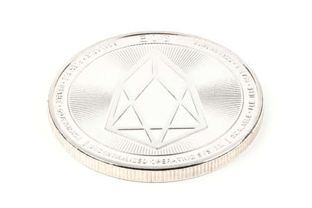 Face of the crypto currency, silver EOS isolated on white background. High resolution photo. Full depth of field. Stok Fotoğraf