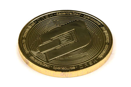 Face of the crypto currency golden dash isolated on white background. High resolution photo. Full depth of field.