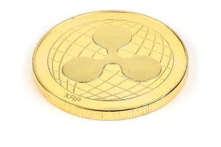 Back side of the crypto currency golden ripple isolated on white background. High resolution photo. Full depth of field.