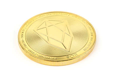 Back side of the crypto currency golden EOS isolated on white background. High resolution photo. Full depth of field. Stok Fotoğraf