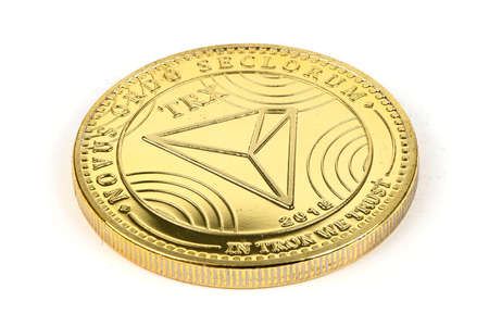 Back side of the crypto currency golden tron isolated on white background. High resolution photo. Full depth of field.