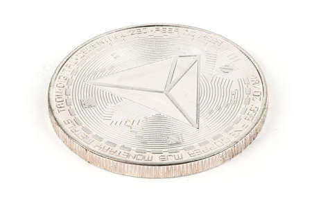 Face of the crypto currency silver tron isolated on white background. High resolution photo. Full depth of field.