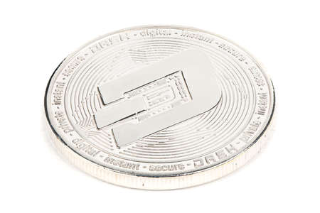 Back side of the crypto currency silver dash isolated on white background. High resolution photo. Full depth of field.
