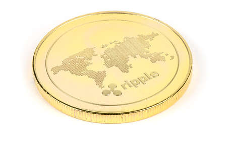 Face of the crypto currency golden ripple isolated on white background. High resolution photo. Full depth of field. Stok Fotoğraf