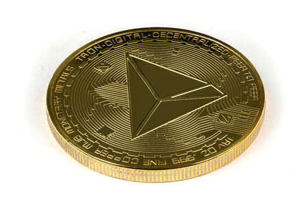 Face of the crypto currency golden tron isolated on white background. High resolution photo. Full depth of field. Stok Fotoğraf