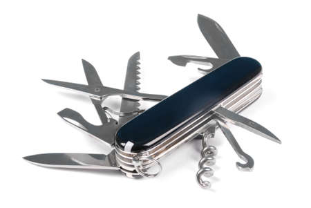 Black swiss army knife isolated on a white background. High resolution photo. Full depth of field. Фото со стока