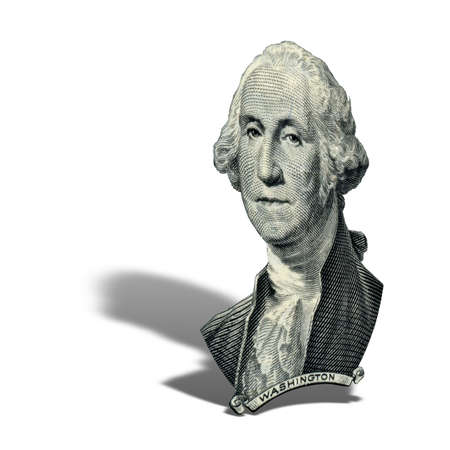 Portrait of first USA president George Washington as he looks on one dollar bill obverse. Photo at an angle of 15 degrees, with a shadow. Фото со стока