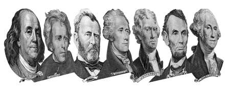 Portraits of America presidents and politicians from dollars isolated on white background. Photo at an angle of 45 degrees.