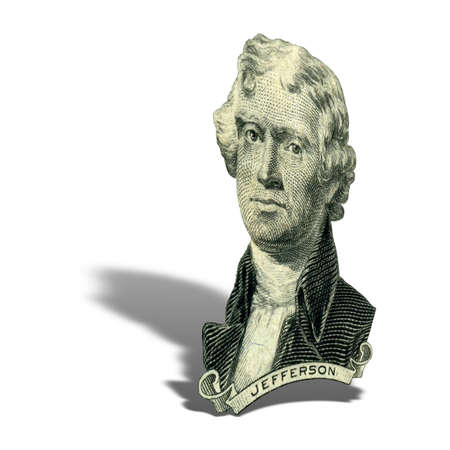 Portrait of former U.S. president Thomas Jefferson as he looks on two dollar bill obverse. Photo at an angle of 15 degrees, with a shadow. 스톡 콘텐츠