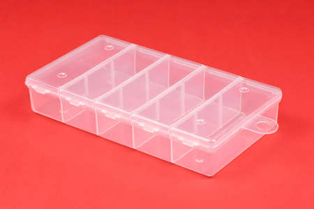 Food plastic box isolated on red background. High resolution photo. Full depth of field.