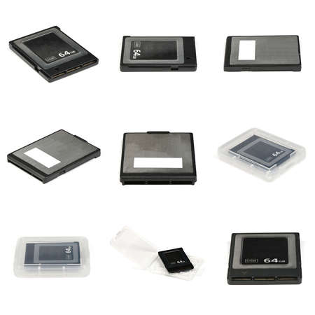 Nine modern professional  Memory Card features 64GB Storage Capacity,  ready to be used. Isolated on white background