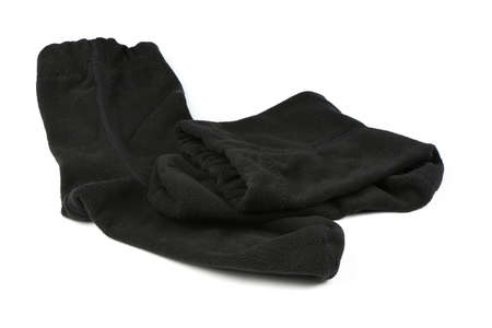 Pair of new unisex black stretch sport thermo sock. Isolated on white background. High resolution photo. Full depth of field.