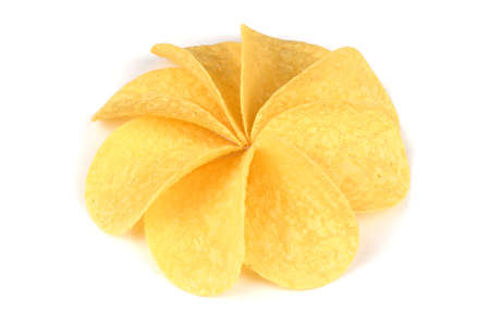 Tasty crispy potato chips in shape of circle isolated on white background. High resolution photo. Full depth of field.