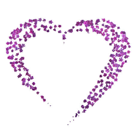 Faded purple hydrangea set out in the form of heart. Isolated on white background. High resolution photo. Full depth of field. Love photo concept
