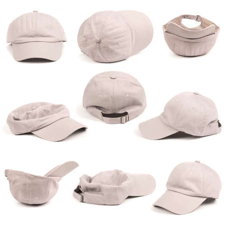 Group of nine gray baseball cap. Isolated on white background. High resolution photo. Full depth of field.