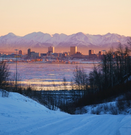 anchorage: sunset over the city Stock Photo